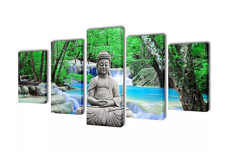 Taulusarja Buddha 200 x 100 cm - Monivärinen - Sisustustuotteet - Seinäkoristeet - Canvas-taulut
