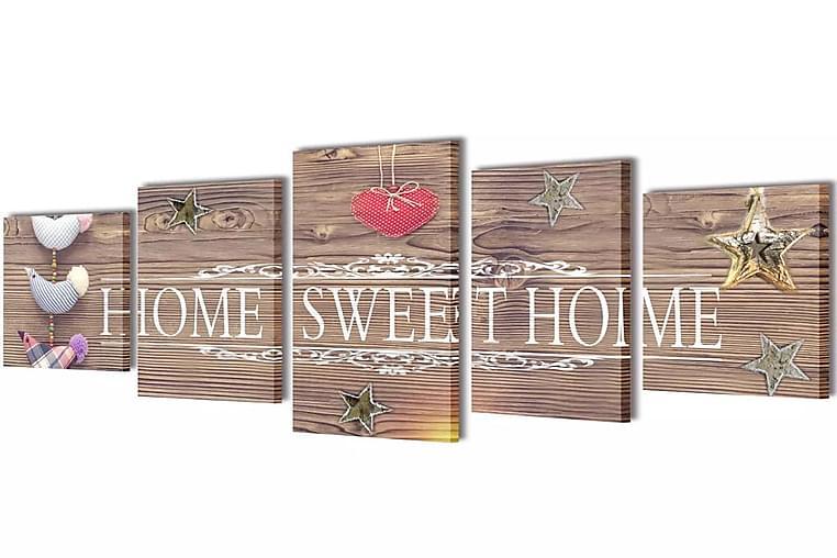 Taulusarja Home Sweet Home 200 x 100 cm - Monivärinen - Sisustustuotteet - Seinäkoristeet - Canvas-taulut