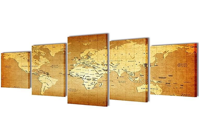 Taulusarja Maailman Kartta 100 x 50 cm - Monivärinen - Sisustustuotteet - Seinäkoristeet - Canvas-taulut