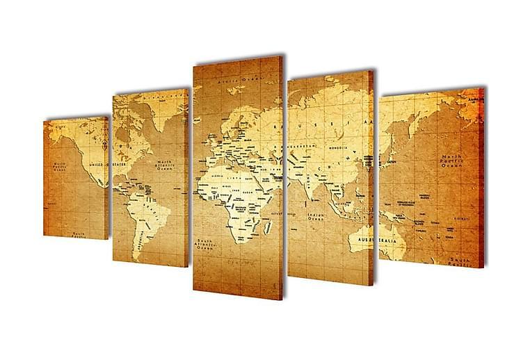 Taulusarja Maailman Kartta 200 x 100 cm - Monivärinen - Sisustustuotteet - Seinäkoristeet - Canvas-taulut