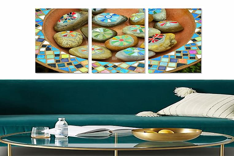 Canvastaulu Abstract 3-pak Monivärinen - 20x50 cm - Sisustustuotteet - Seinäkoristeet - Julisteet