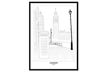Julistetaulu Street View London 50x70 cm Kehyksellä