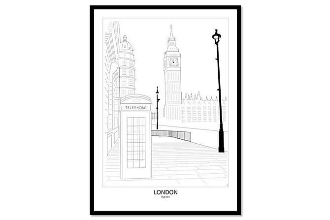 Julistetaulu Street View London 50x70 cm Kehyksellä - Valkoinen/Musta - Sisustustuotteet - Seinäkoristeet - Julisteet
