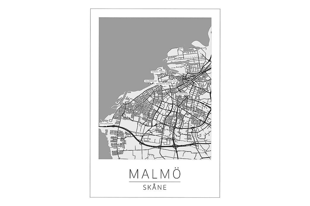 Malmö Kaupunkikartta Juliste - 50x70 cm - Sisustustuotteet - Seinäkoristeet - Julisteet