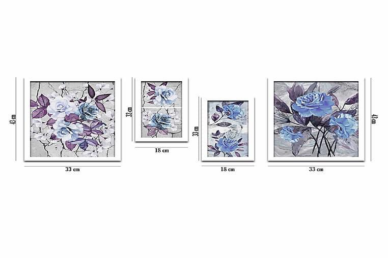 Taulu Floral kehyksellä 4-pak Monivärinen - 33x43 cm - Sisustustuotteet - Seinäkoristeet - Kehykset