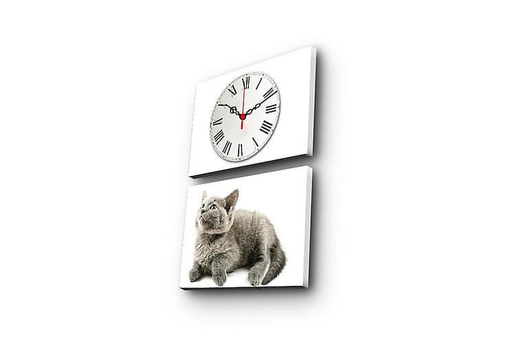 Koristeellinen Canvas Seinäkello (2 kpl) - Sisustustuotteet - Seinäkoristeet - Kellot