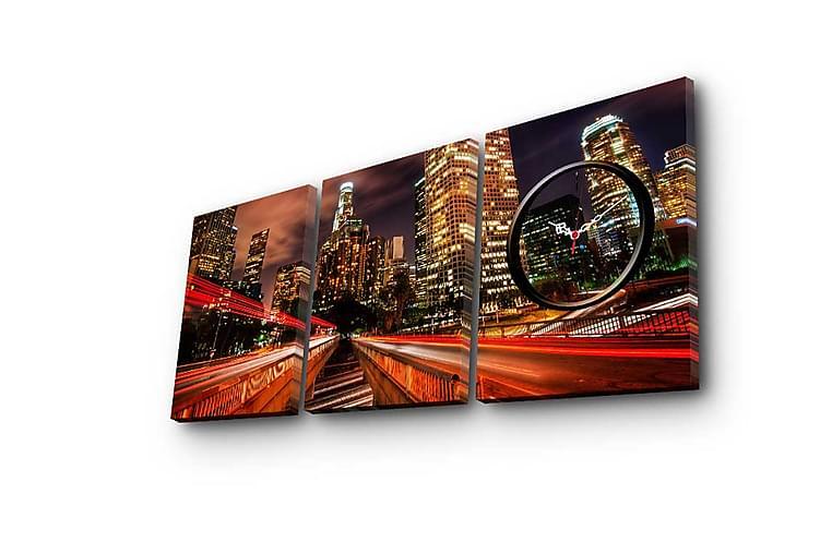 Koristeellinen Canvas Seinäkello (3 kpl) - Sisustustuotteet - Seinäkoristeet - Kellot