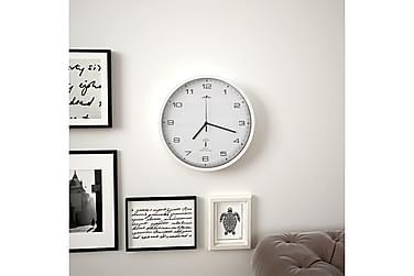 Radio-ohjattu seinäkello kvartsikoneisto 31 cm valkoinen