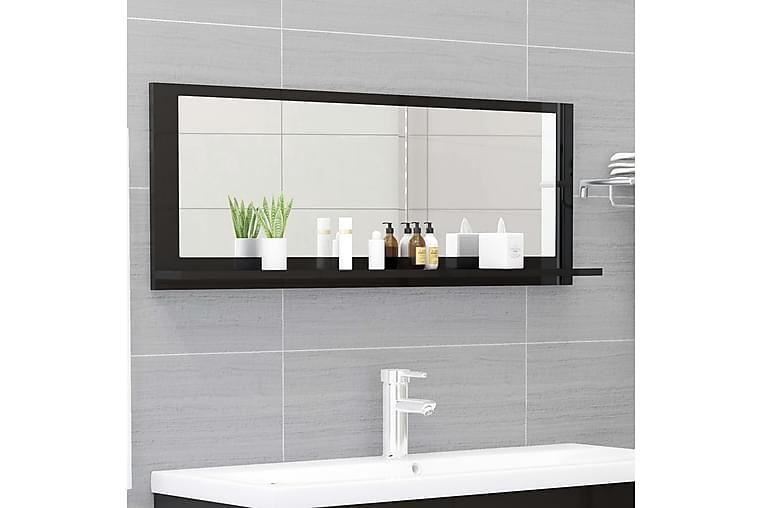 Kylpyhuonepeili korkeakiilto musta 100x10,5x37 cm lastulevy - Musta - Sisustustuotteet - Seinäkoristeet - Peilit