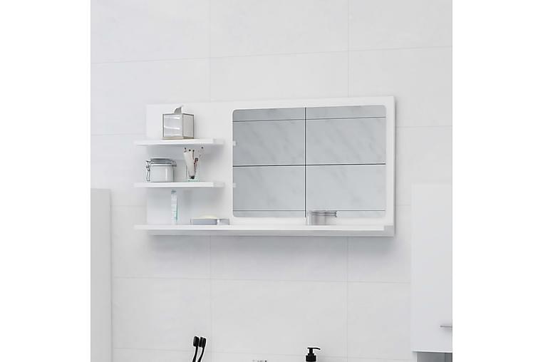 Kylpyhuonepeili korkeakiilto valkoinen 90x10,5x45 cm - Valkoinen - Sisustustuotteet - Seinäkoristeet - Peilit