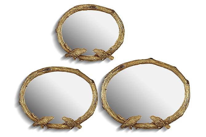 Peili Noble Life 3:n setti Ovaali Polyesteri - Kulta - Sisustustuotteet - Seinäkoristeet - Peilit