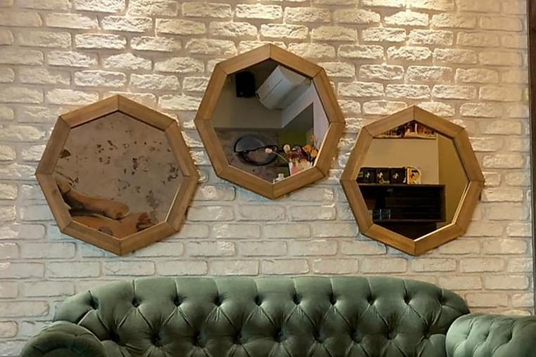 Peilisetti 3 osaa Rigot 60 cm - Pähkinä - Sisustustuotteet - Seinäkoristeet - Peilit
