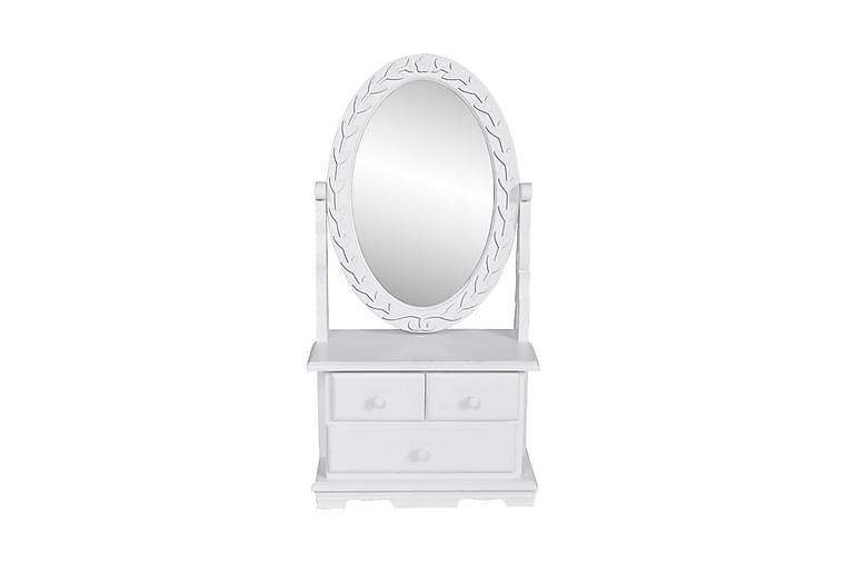 Pieni peilipöytä soikealla käännettävällä peilillä MDF - Valkoinen - Sisustustuotteet - Seinäkoristeet - Peilit