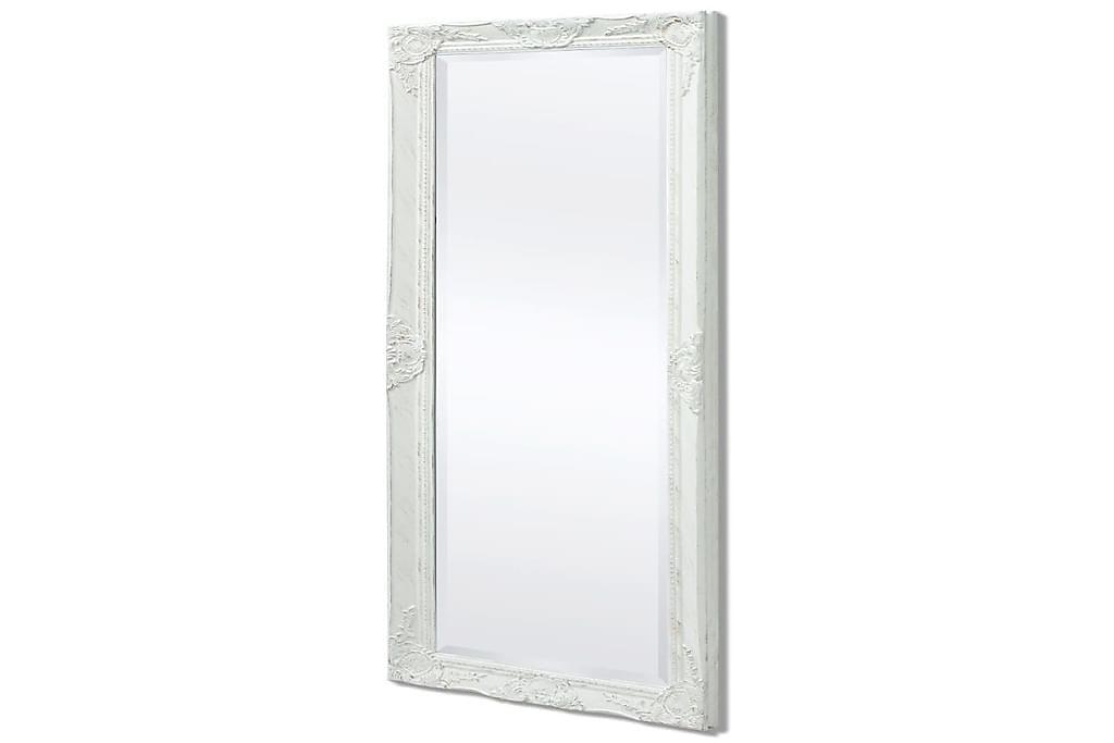 Seinäpeili Barokkityylinen 140x50 cm Valkoinen - Valkoinen - Sisustustuotteet - Seinäkoristeet - Peilit