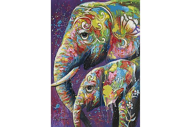 Canvastaulu Kaksi Elefanttia - 90x120 - Sisustustuotteet - Seinäkoristeet - Taulut & taide