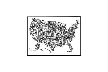 Juliste USA kartta