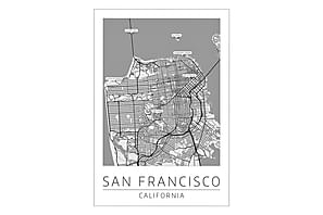 San Francisco Kaupunkikartta Juliste