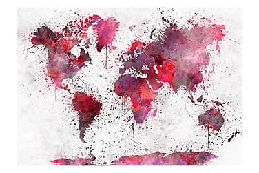 Valokuvatapetti World Map Red Watercolors 400x280