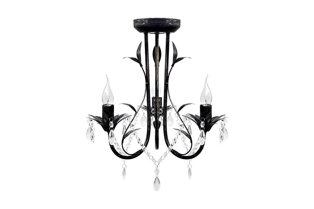 Art Noveau Musta Metallinen Kattokruunu Kristallihelmillä - Musta - Valaistus - Sisävalaistus & lamput - Kristallikruunut & kattokruunut