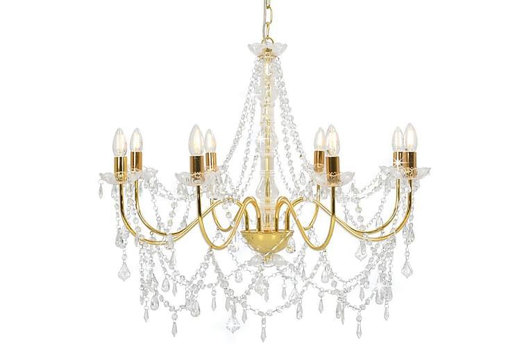 Kattokruunu helmillä kulta 8 x E14 polttimot - Kulta - Valaistus - Sisävalaistus & lamput - Kristallikruunut & kattokruunut