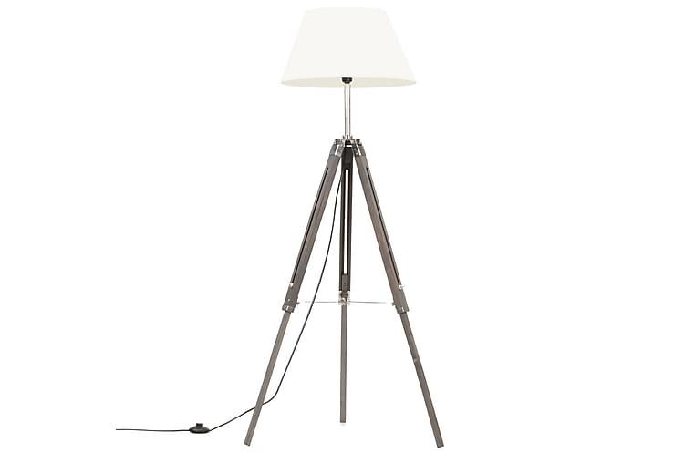 Kolmijalkavalaisin harmaa ja valkoinen täysi tiikki 141 cm - Valaistus - Sisävalaistus & lamput - Lattiavalaisimet