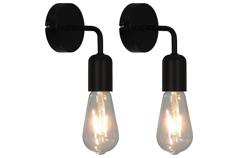 Seinävalaisimet 2 kpl 2 W musta E27 - Musta - Valaistus - Sisävalaistus & lamput - Seinävalaisimet