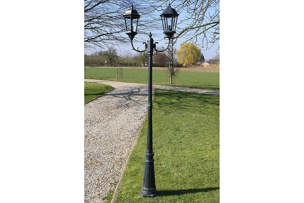 Puutarhan valotolppa 2-vartta 230 tumman/musta alumiini - Vihreä - Valaistus - Ulkovalaistus - Maavalaistus